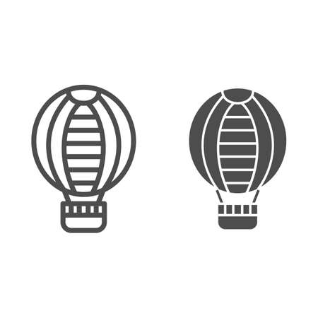 Striped hot air balloon line and solid icon, Balloons festival concept, Air transport for travel sign on white background, balloon icon in outline style for mobile and web design. Vector graphics.