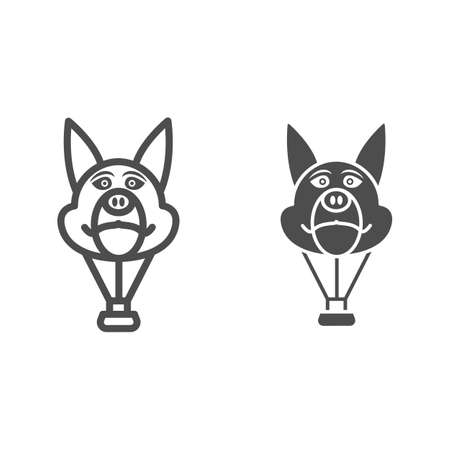 Dog head balloon line and solid icon, Balloons festival concept, Air transport for kids sign on white background, hot air balloon in shape of dog icon in outline style for mobile. Vector graphics.
