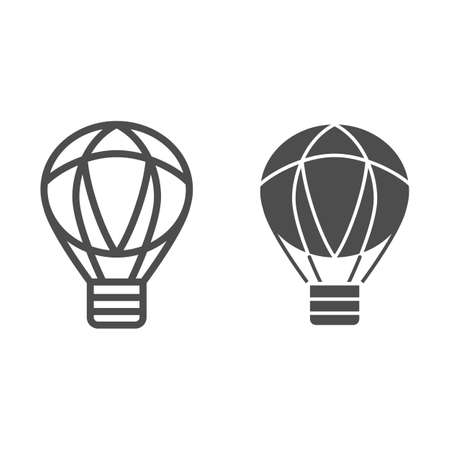 Balloon line and solid icon, Balloons festival concept, Air transport for travel sign on white background, hot air balloon icon in outline style for mobile concept and web design. Vector graphics. Vettoriali