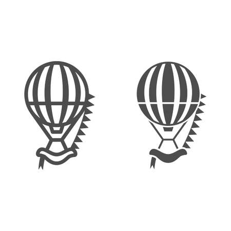 Striped hot air balloon with flags line and solid icon, Balloons festival concept, Air transport sign on white background, balloon icon in outline style for mobile and web design. Vector graphics.