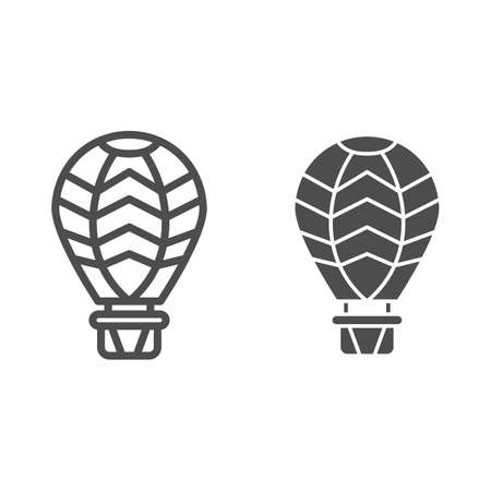 Hot air balloon line and solid icon, Balloons festival concept, Air transport for travel sign on white background, Balloon icon in outline style for mobile concept and web design. Vector graphics.