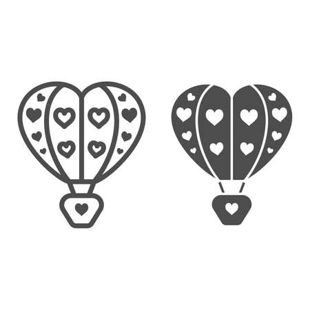 Hot air balloon with hearts line and solid icon, Balloons festival concept, love travel sign on white background, Heart shaped air balloon icon in outline style for mobile and web. Vector graphics.
