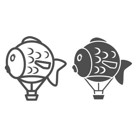 Balloon in shape of fish line and solid icon, Balloons festival concept, Air transport for kids sign on white background, hot air balloon icon in outline style for mobile. Vector graphics.