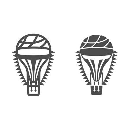 Hot air balloon with flags line and solid icon, Balloons festival concept, Air transport for travel sign on white background, balloon icon in outline style for mobile and web design. Vector graphics. Vettoriali