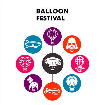 Modern Balloon festival Infographic design template with icons. Hot Air Festive balloons Infographic visualization in bubble design on white background. Creative vector illustration for infographic.