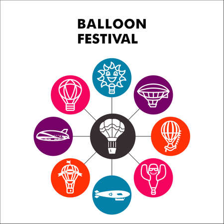 Modern Balloon festival Infographic design template with icons. Hot Air Balloon Infographic visualization in bubble design on white background. Creative vector illustration for infographic.