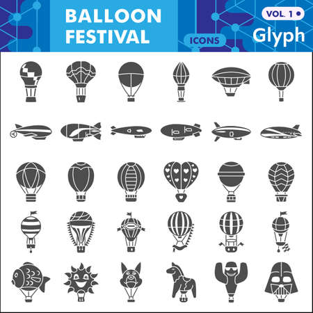 Balloon festival solid icon set, Hot Air Balloon symbols collection or sketches. Festive balloons glyph style signs for web and app. Vector graphics isolated on white background.