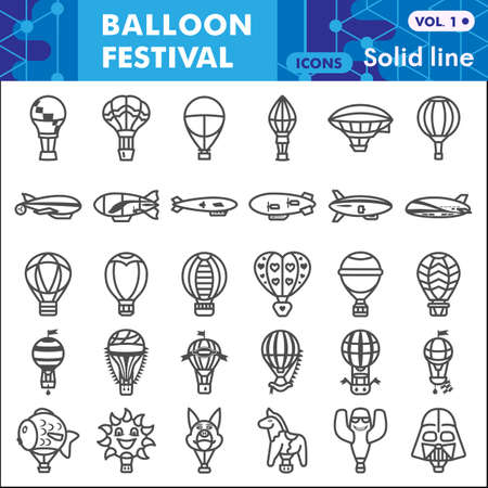 Balloon festival line icon set, Hot Air Balloon symbols collection or sketches. Festive balloons linear style signs for web and app. Vector graphics isolated on white background. Vettoriali