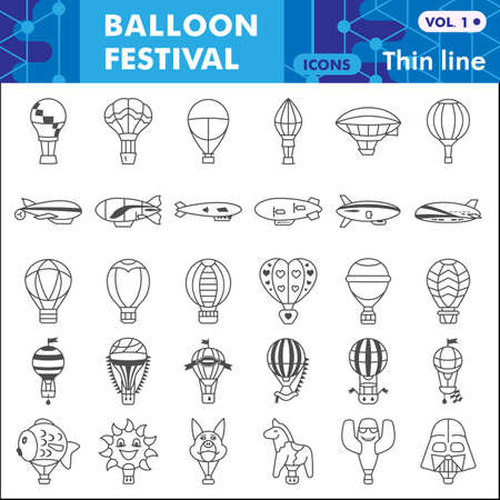 Balloon festival thin line icon set, Hot Air Balloon symbols collection or sketches. Festive balloons linear style signs for web and app. Vector graphics isolated on white background.