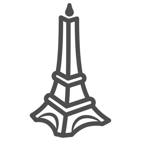 Chocolate Eiffel Tower line icon, Chocolate festival concept, Chocolate monument sign on white background, sweet Eiffel tower candy icon in outline style for mobile and web. Vector graphics.