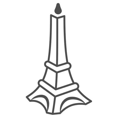 Chocolate Eiffel Tower thin line icon, Chocolate festival concept, Chocolate monument sign on white background, sweet Eiffel tower candy icon in outline style for mobile and web. Vector graphics.