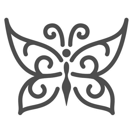Chocolate butterfly line icon, Chocolate festival concept, candy sign on white background, sweet butterfly from chocolate icon in outline style for mobile and web design. Vector graphics.