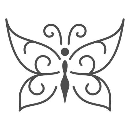 Chocolate butterfly thin line icon, Chocolate festival concept, candy sign on white background, sweet butterfly from chocolate icon in outline style for mobile and web design. Vector graphics.