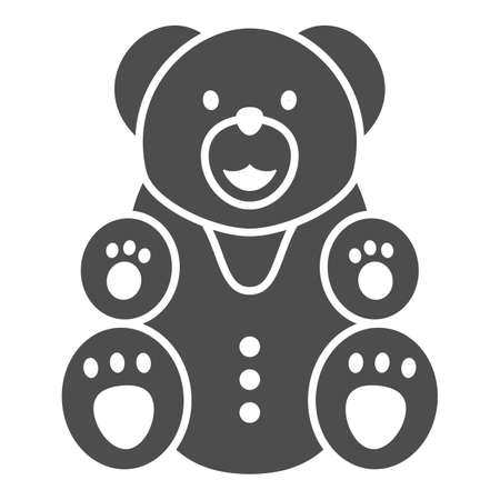 Chocolate Bear solid icon, Chocolate festival concept, Bear candy sign on white background, sweet teddy bear icon in glyph style for mobile concept and web design. Vector graphics.