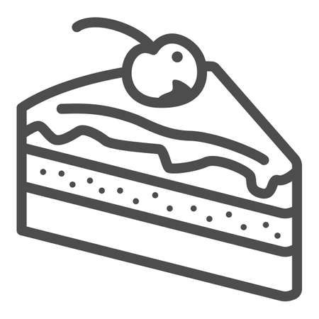 Piece of chocolate cake line icon, Chocolate festival concept, slice of cake sign on white background, Dessert with chocolate glaze and cherry icon in outline style. Vector graphics. 向量圖像