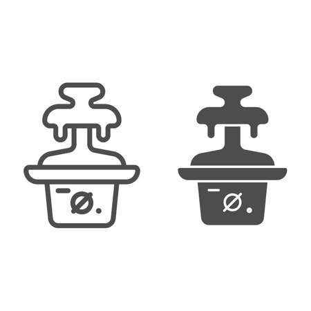 Chocolate fountain line and solid icon, Chocolate festival concept, Fondue sign on white background, chocolate dessert machine icon in outline style for mobile concept and web design. Vector graphics.