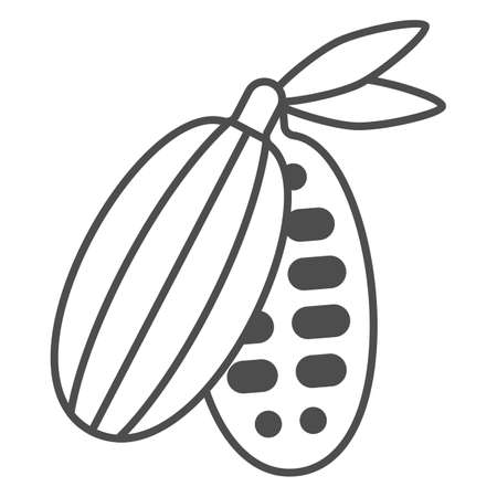 Cocoa beans thin line icon, Chocolate festival concept, Cocoa pod sign on white background, cacao bean with leaves icon in outline style for mobile concept and web design. Vector graphics. 向量圖像
