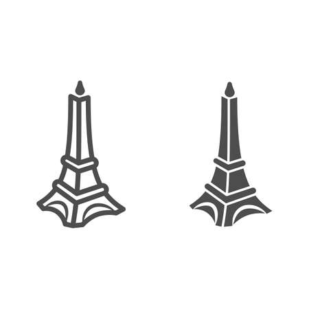 Chocolate Eiffel Tower line and solid icon, Chocolate festival concept, Chocolate monument sign on white background, sweet Eiffel tower candy icon in outline style for mobile and web. Vector graphics.