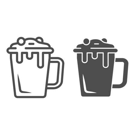 Hot chocolate in mug line and solid icon, Chocolate festival concept, Hot chocolate sign on white background, mug with hot drink icon in outline style for mobile concept, web design. Vector graphics. 向量圖像