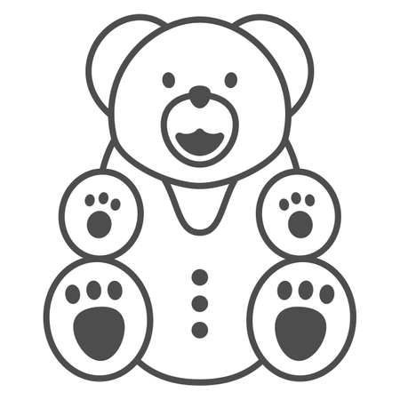 Chocolate Bear thin line icon, Chocolate festival concept, Bear candy sign on white background, sweet teddy bear icon in outline style for mobile concept and web design. Vector graphics. 向量圖像