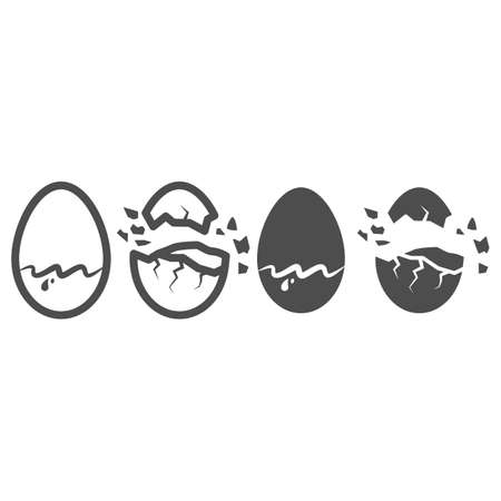 Chocolate egg line and solid icon, Chocolate festival concept, sweet tasty eggshell sign on white background, Broken and cracked chocolate egg icon in outline style for mobile, web. Vector graphics. 向量圖像