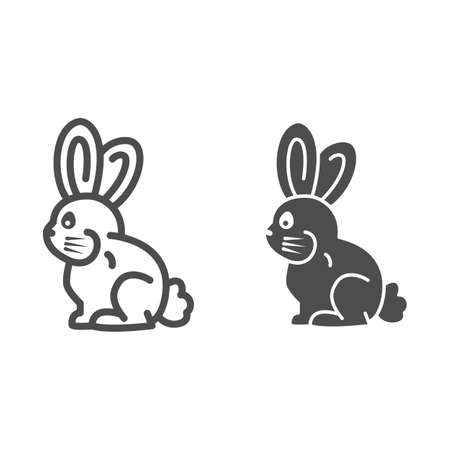 Chocolate bunny line and solid icon, Chocolate festival concept, sweet holiday chocolate dessert sign on white background, Easter Bunny icon in outline style for mobile and web. Vector graphics.
