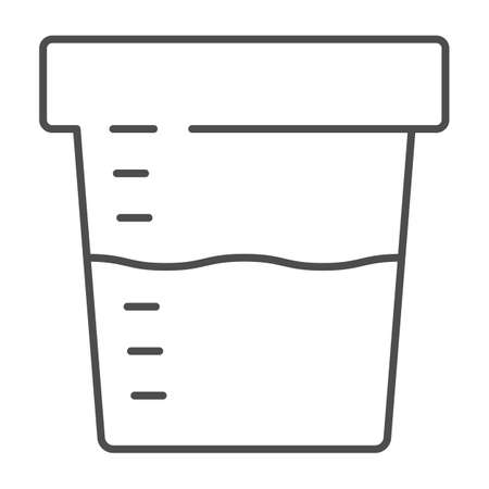 Urine sample for analysis thin line icon, Medical tests concept, sampling container sign on white background, Urine test in plastic jar icon in outline style for mobile and web. Vector graphics. Çizim