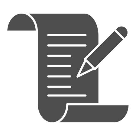 Test results solid icon, Medical tests concept, Medical form with pencil sign on white background, report and pen icon in glyph style for mobile concept and web design. Vector graphics. 向量圖像