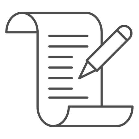 Test results thin line icon, Medical tests concept, Medical form with pencil sign on white background, report and pen icon in outline style for mobile concept and web design. Vector graphics.