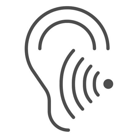Hearing test solid icon, Medical tests concept, Volume listen sign on white background, Sound wave going through human ear icon in glyph style for mobile and web design. Vector graphics.