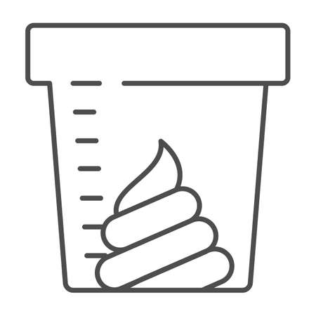 Stool sample for analysis thin line icon, Medical tests concept, fecal analysis sign on white background, Stool test in a plastic jar icon in outline style for mobile and web. Vector graphics.