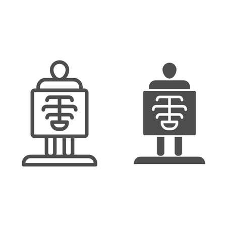X-ray line and solid icon, Medical tests concept, chest radiography sign on white background, body radiography icon in outline style for mobile concept and web design. Vector graphics. Vettoriali