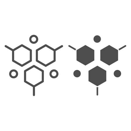 Molecular structure line and solid icon, Medical tests concept, DNA test sign on white background, molecule icon in outline style for mobile concept and web design. Vector graphics. Illustration