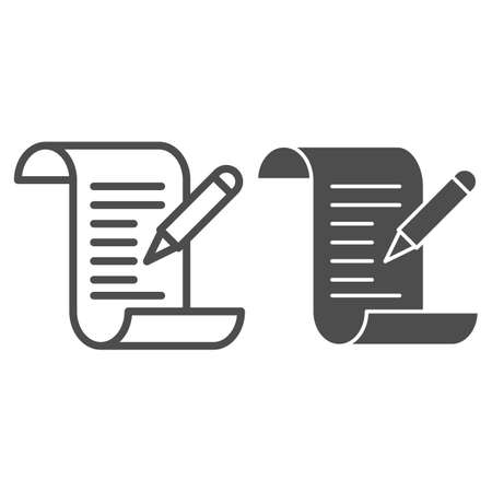 Test results line and solid icon, Medical tests concept, Medical form with pencil sign on white background, report and pen icon in outline style for mobile concept and web design. Vector graphics. 向量圖像