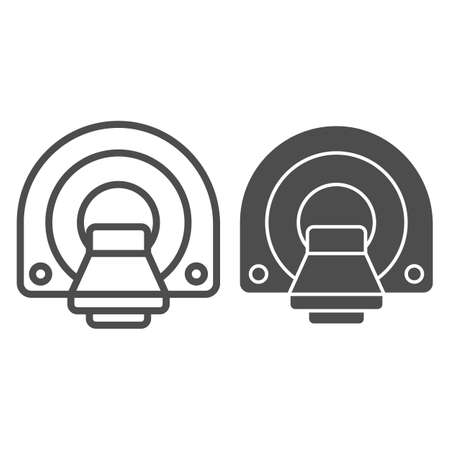 Computed tomography line and solid icon, Medical tests concept, MRI diagnostic sign on white background, Machine for magnetic resonance tomography icon in outline style for mobile. Vector graphics.