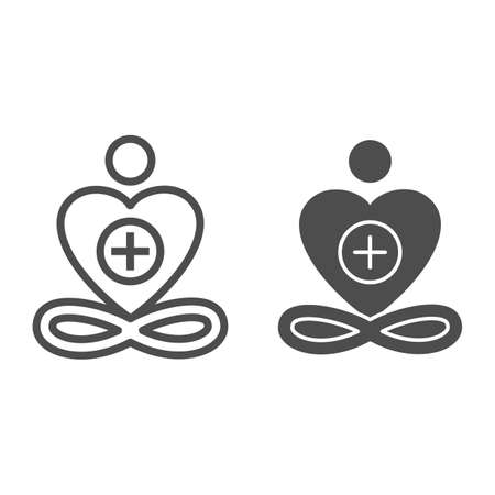 General patient well-being line and solid icon, Medical tests concept, Wellness symbol on white background, healthy heart and healthy life sign in outline style for mobile and web. Vector graphics. 矢量图像