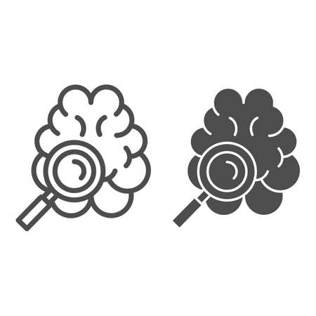Brain tomography line and solid icon, Medicine concept, Brain examination sign on white background, Brain under magnifying glass icon in outline style for mobile concept, web design. Vector graphics.