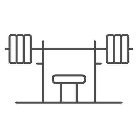 Rack with a barbell thin line icon, Gym concept, barbell on rack sign on white background, Dumbbell stand icon in outline style for mobile concept and web design. Vector graphics