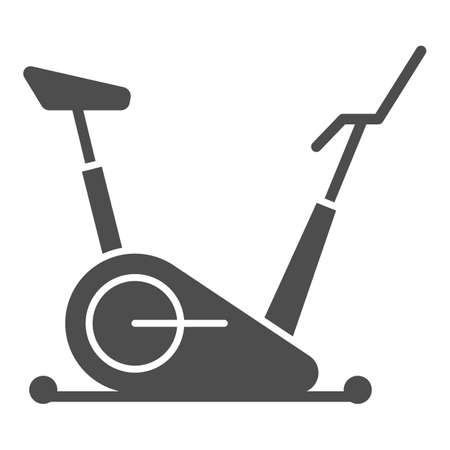 Exercise bike solid icon, Gym concept, stationary bike sign on white background, Fitness cycling icon in glyph style for mobile concept and web design. Vector graphics. 向量圖像
