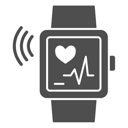 Smart watch solid icon, Gym concept, Wrist Watch with heart rate sign on white background, Fitness bracelet icon in glyph style for mobile concept and web design. Vector graphics.