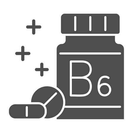 Medicine bottle with vitamins solid icon, Gym concept, vitamin B supplement sign on white background, Bottle of pills icon in glyph style for mobile concept and web design. Vector graphics.