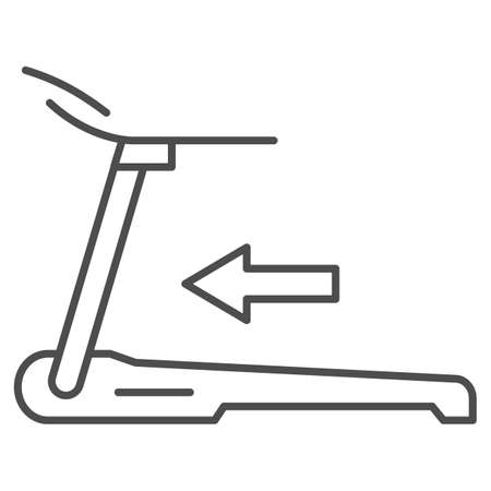 Treadmill thin line icon, Gym concept, training machine for running sign on white background, trainer treadmill icon in outline style for mobile concept and web design. Vector graphics.