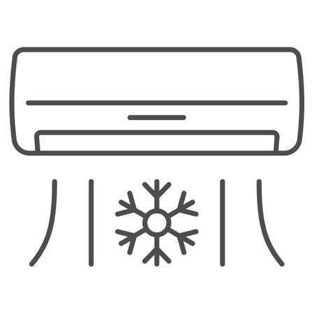 Air conditioner thin line icon, Gym concept, Air cooling with snowflake sign on white background, air conditioning icon in outline style for mobile concept and web design. Vector graphics.