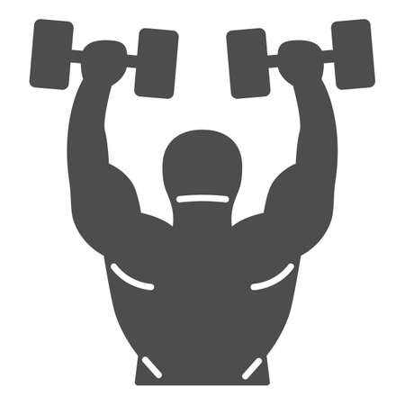 Lifting dumbbells solid icon, Gym concept, Weightlifter sign on white background, Bodybuilder lifting barbells icon in glyph style for mobile concept and web design. Vector graphics.