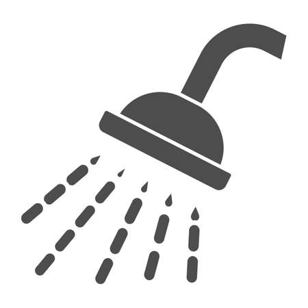Shower solid icon, Gym concept, Douche with water drops sign on white background, shower spray icon in glyph style for mobile concept and web design. Vector graphics.