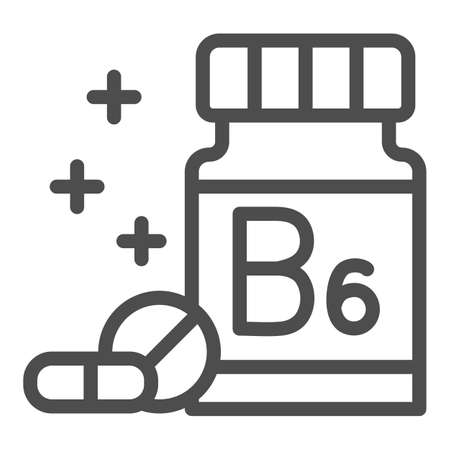 Medicine bottle with vitamins line icon, Gym concept, vitamin B supplement sign on white background, Bottle of pills icon in outline style for mobile concept and web design. Vector graphics.