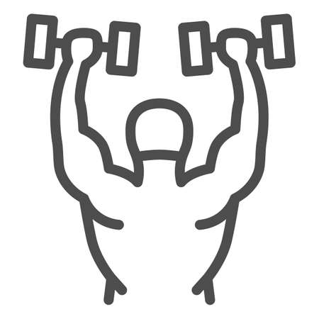 Lifting dumbbells line icon, Gym concept, Weightlifter sign on white background, Bodybuilder lifting barbells icon in outline style for mobile concept and web design. Vector graphics.