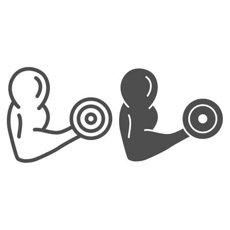 Biceps with weight line and solid icon, Gym concept, muscular strong man arm sign on white background, Muscular bodybuilder pose with dumbbell icon in outline style for mobile, web. Vector graphics.
