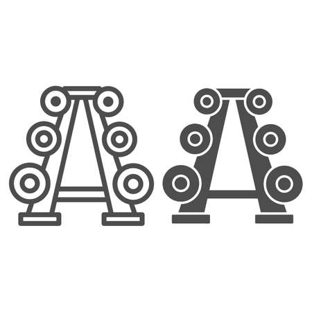 Stand with dumbbells line and solid icon, Gym concept, Gym equipment sign on white background, Barbell stand in various weight icon in outline style for mobile concept and web design. Vector graphics.