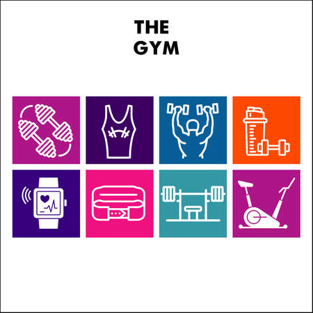 Modern Gym Infographic design template with icons. Sport and fitness Infographic visualization on white background. Health template for presentation. Creative vector illustration for infographic.